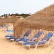 Palapa sun roof beach umbrella in cape verde - Stok fotoğraf