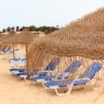 Palapa sun roof beach umbrella in cape verde — Stock Photo #12008611