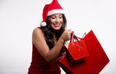 Beautiful brunette girl holding christmas shopping bags — Stock Photo