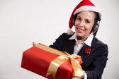 Customer service on christmas — Stock Photo