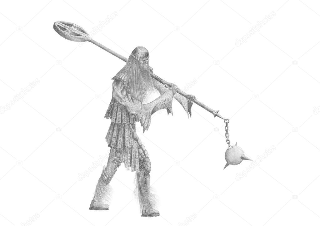Black and white image old viking — Stock Photo #11003236