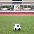Perspective of penalty spot of soccer field — Foto de Stock