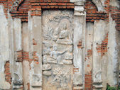 Buddhism Thai stucco on the stone wall, Thailand — Stock Photo