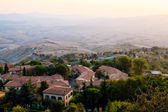 Roofs and Landscape of a Small Town Volterra at Sunset in Tuscan — Stock Photo