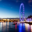London Eye and London Cityscape in the Night, United Kingdom — Stock Photo #11203268
