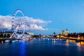 London Eye, Westminster Bridge and Big Ben in the Evening, Londo — Stock Photo