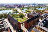 Vista aérea de techos y canales de copenhague, dinamarca — Foto de Stock