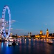 London Eye, Westminster Bridge and Big Ben in the Evening, Londo — Stock Photo #11290296