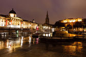 National Gallery and Trafalgar Square in the Night, London, Unit — Stock Photo