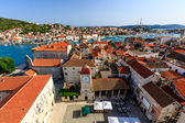 Aerial View on Trogir and it's Main Square from Cathedral of Sai — Foto de Stock