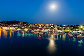 Aerial View on Illuminated Coast of Island Ciovo in the Night, C — Stock Photo