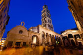 Peristyle and Diocletian Palace in Split in the Evening, Croatia — Stock Photo
