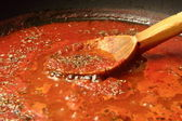 Preparing tomato sauce — Stock Photo