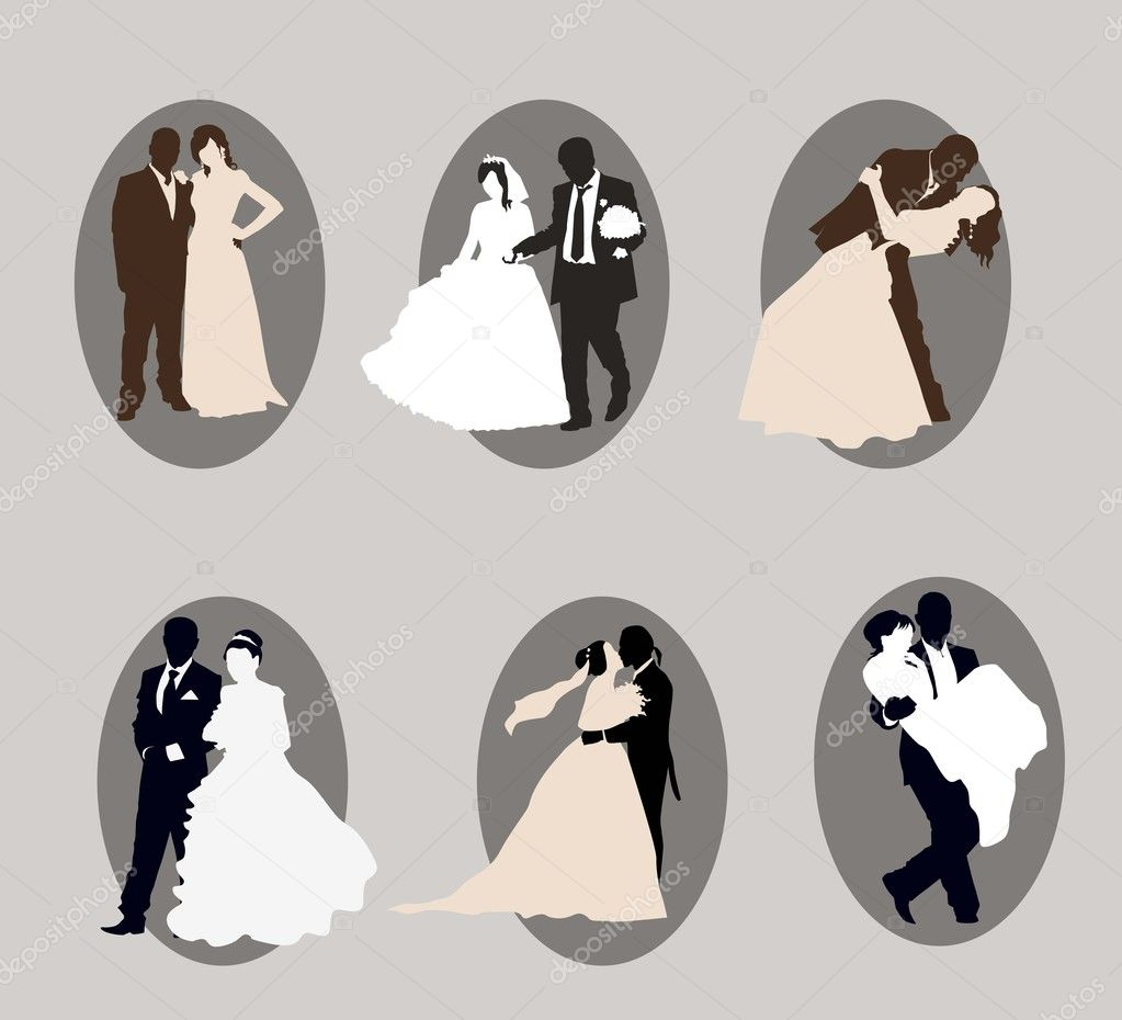 Newlyweds. a set of six vector elements — Stock Vector #11488510