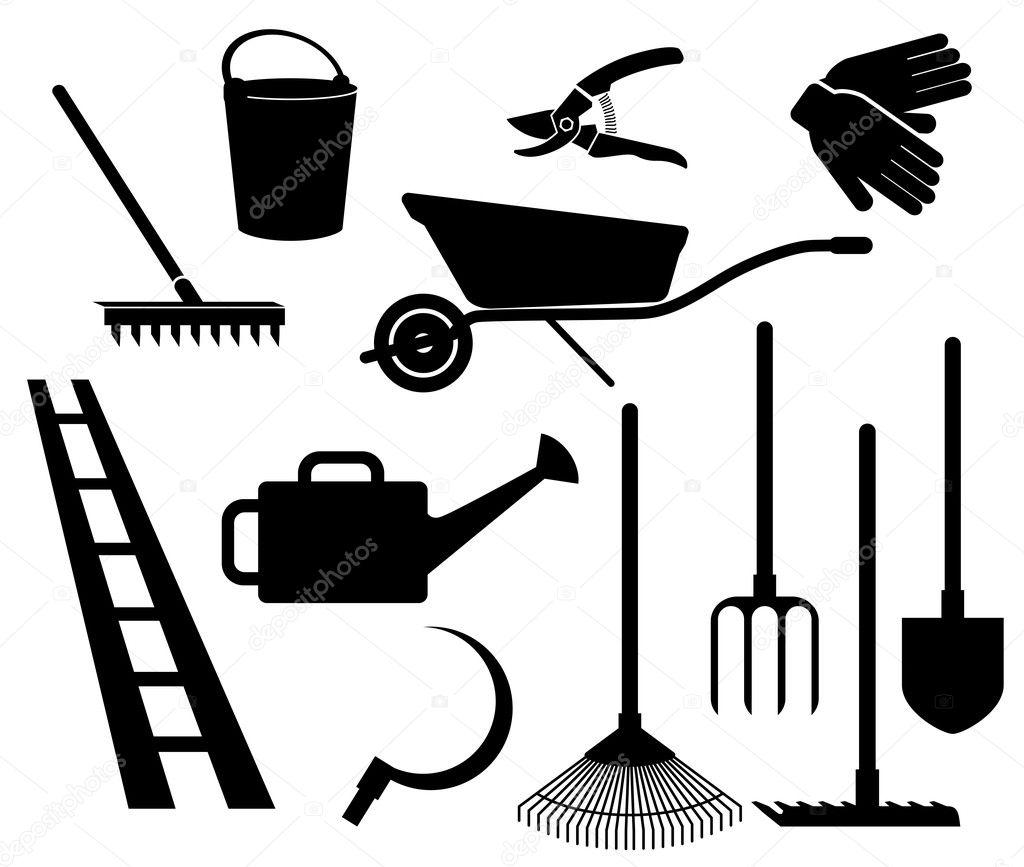 Herramientas de jardiner a vector de stock lapuma for Objetos de jardineria