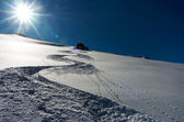 Ski track down the hill — Stock Photo