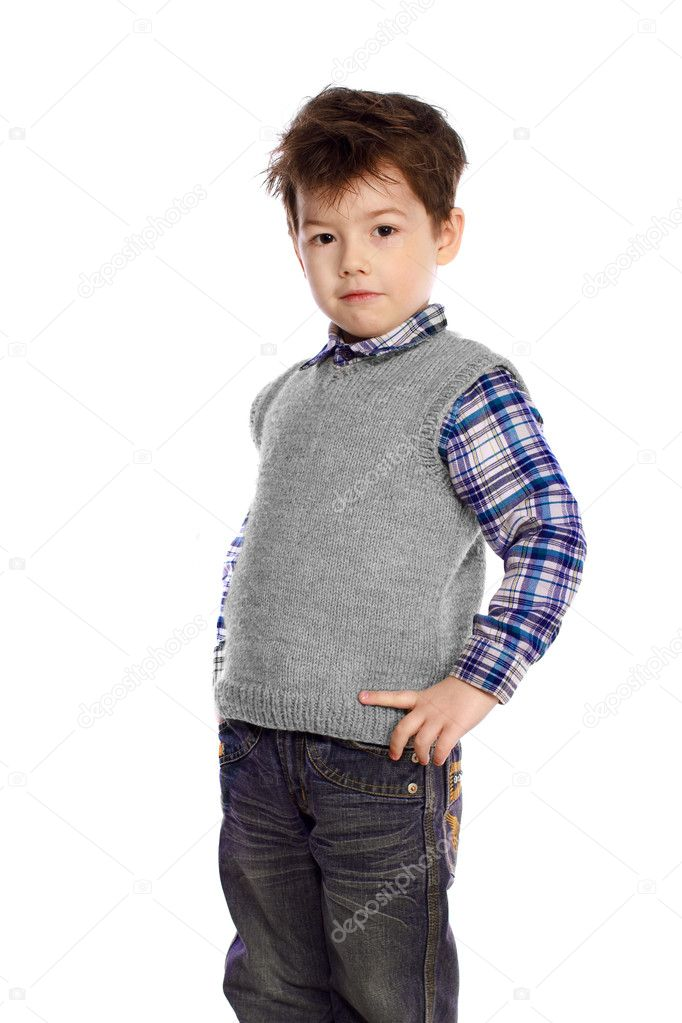 Young European children on white background in a knitted sweater and jeans — Stock Photo #11092113