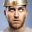 Stock Photo: Portrait of mwith colander on his head