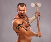 Muscular male portrait of ancient warrior — Foto Stock