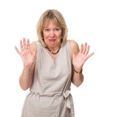 Woman with Shocked Expression and Hands Raised in Horror — Stock Photo