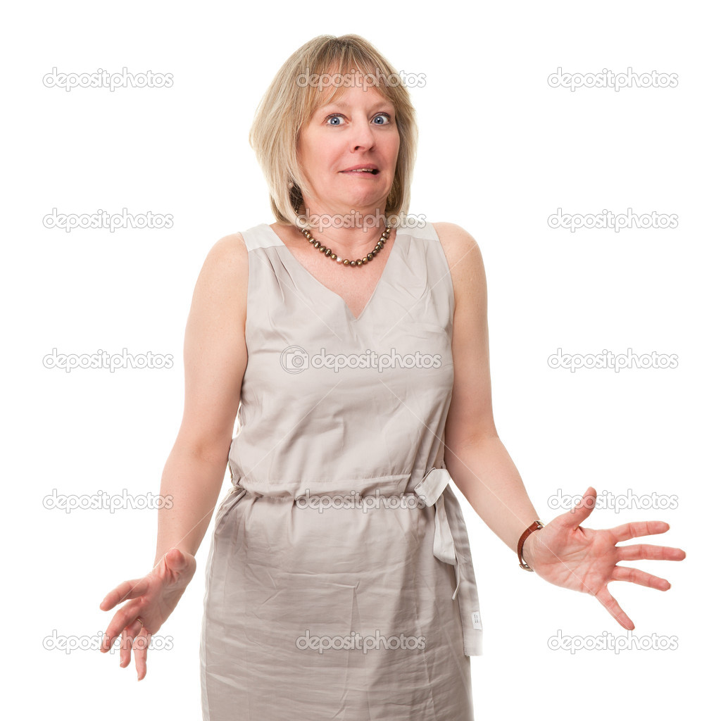 Attractive Mature Woman with Scared Expression Holding Hands Out Isolated — Photo #11115727