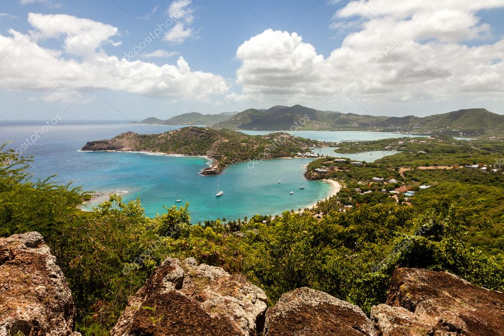 Tropical Caribbean Landscape of English Harbour and Nelson's Dockyard in Antigua — Stock Photo #11908516