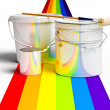 Stock Photo: Bucket with paint, roller, and rainbows colors