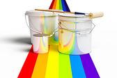 Balde com as cores do arco-íris, rolo e tinta — Fotografia Stock