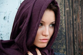 Young attractive girl in a headscarf — Stock Photo