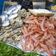 Oysters and prawns for sale — Stock Photo #11539785