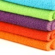 Stock Photo: Stacked colorful microfiber cleaning cloths