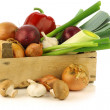 Fresh assorted vegetables in a wooden crate — Stock fotografie #11350422