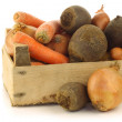 Variety of root vegetables in a wooden crate — 图库照片