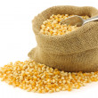 Stock Photo: Yellow corn grain in burlap bag with aluminum scoop