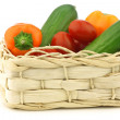 Fresh vegetable snacks in a woven basket — Stock Photo