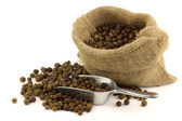 Dried allspice(Jamaica pepper) in a burlap bag with an aluminum scoop — Stock Photo