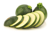 Fresh Round Zucchini's and a cut one — Stock Photo