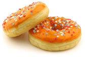Orange donuts with red,white and blue sprinkles — Stock Photo