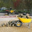 Yellow wheelbarrow — Stock Photo