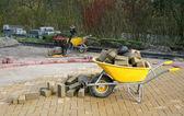Yellow wheelbarrow — Photo