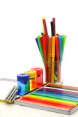 Color felt tip pens, coloring pencils and pencil sharpeners — Stock Photo