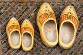 Par de zapatos de madera amarillos holandesas tradicionales fuera de una casa — Foto de Stock