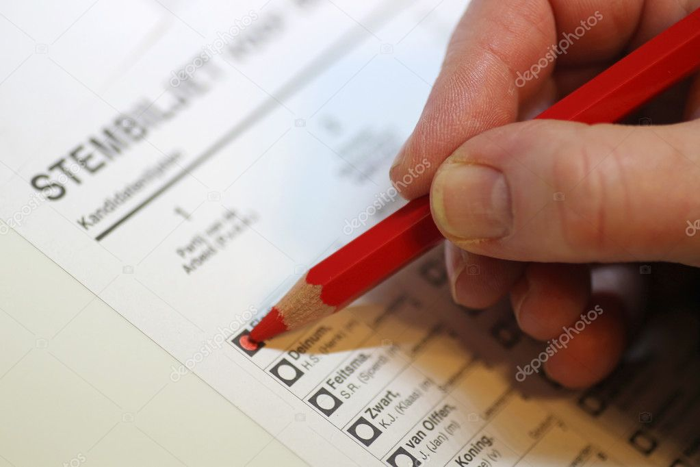 Voting for the elections with red pencil — Stock Photo #11846287