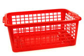Red plastic basket — Stock Photo