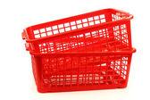 Cestas de plástico vermelhas — Fotografia Stock