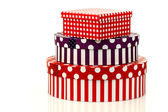 Colorful striped and checkered gift boxes — Stock Photo