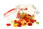 Glass jar with colorful gummy bears with room four your text or images — Stock Photo