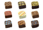 Assorted decorated luxury chocolate bonbons — Stock Photo