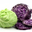 Stock Photo: Freshly cut red and white cabbage