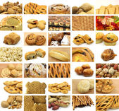 Collage of many snacks, bread, cookies, sweet rolls and candy — Stock Photo
